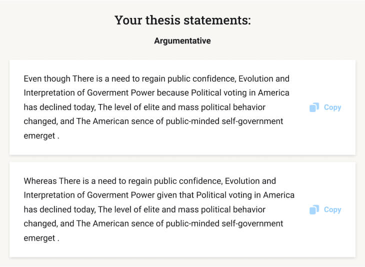 Five results that our thesis statement creator suggests