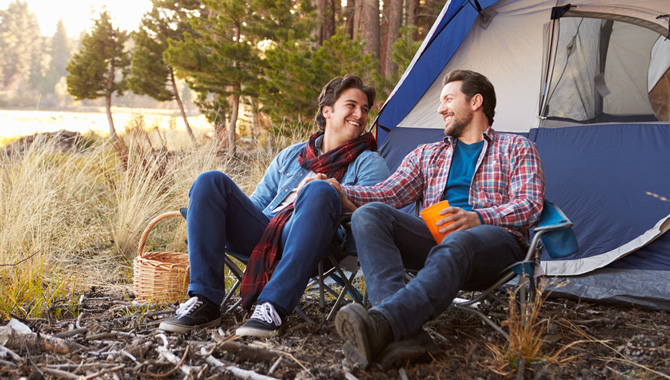 Male Gay Couple On Autumn Camping Trip